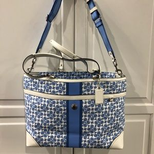 Coach blue diaper bag (never used)